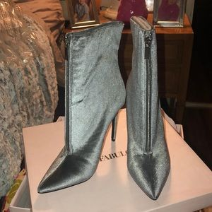 Silver crushed velvet front zip booots